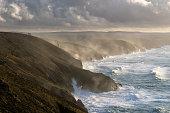 North Cornish coast in a storm with tin mine