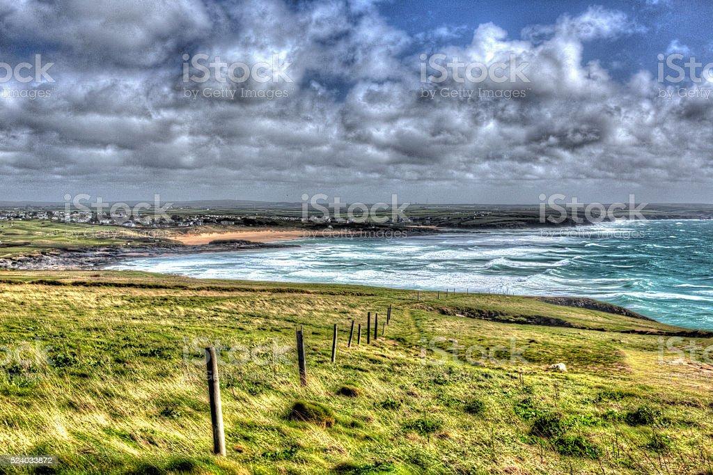 North Cornwall coast view Trevose Head to  Constantine Bay hdr stock photo