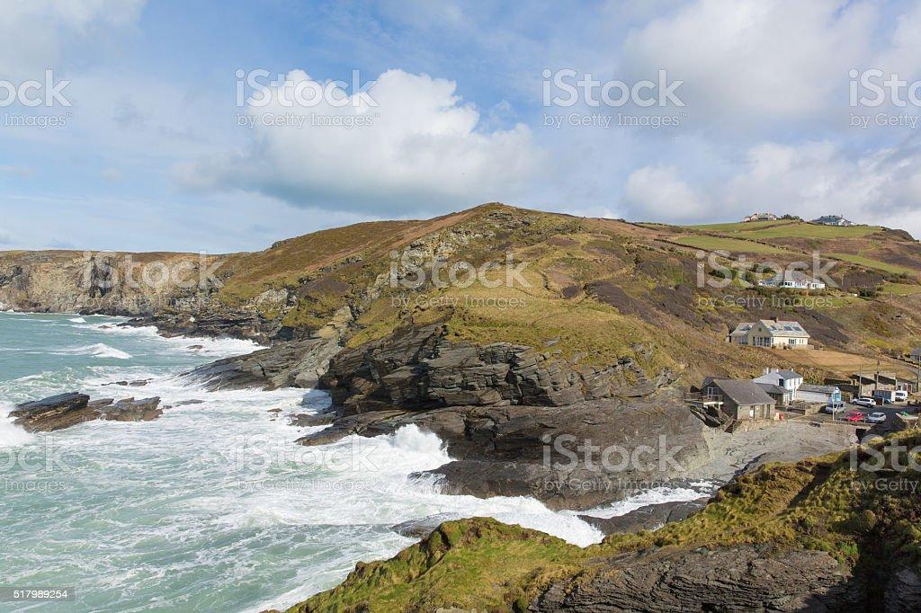 North Cornwall coast village Trebarwith Strand England UK white waves stock photo