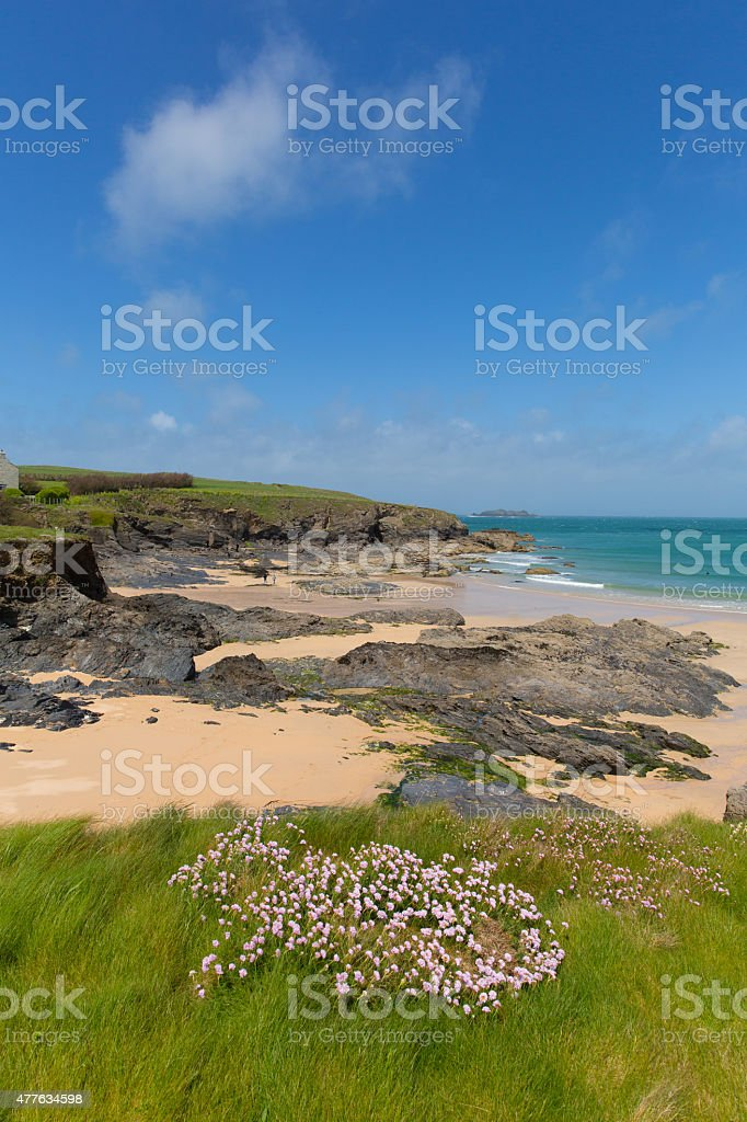 North Cornwall coastal view Harlyn Bay North near Padstow stock photo