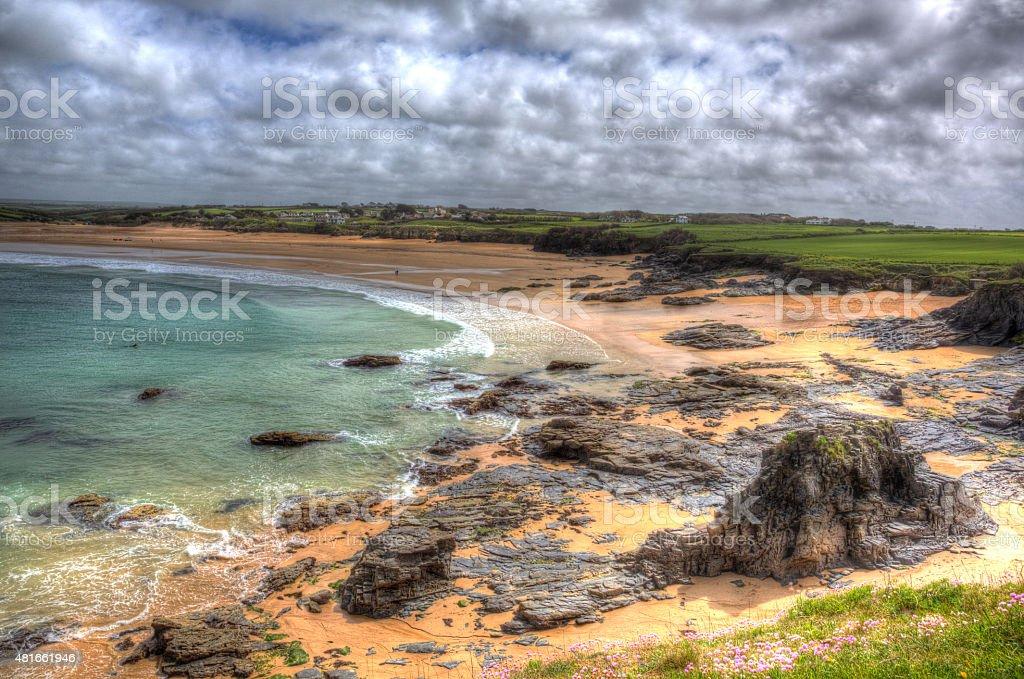 North Cornwall Harlyn Bay grey clouds UK HDR stock photo