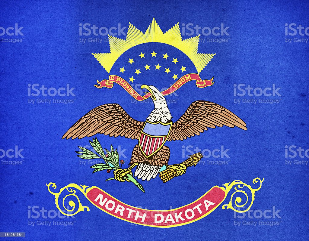 North Dakota Flag Close-Up (High Resolution Image) stock photo