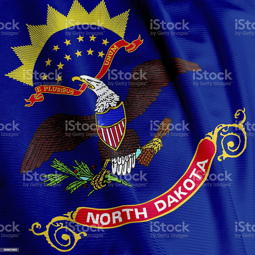 North Dakota Flag Closeup stock photo