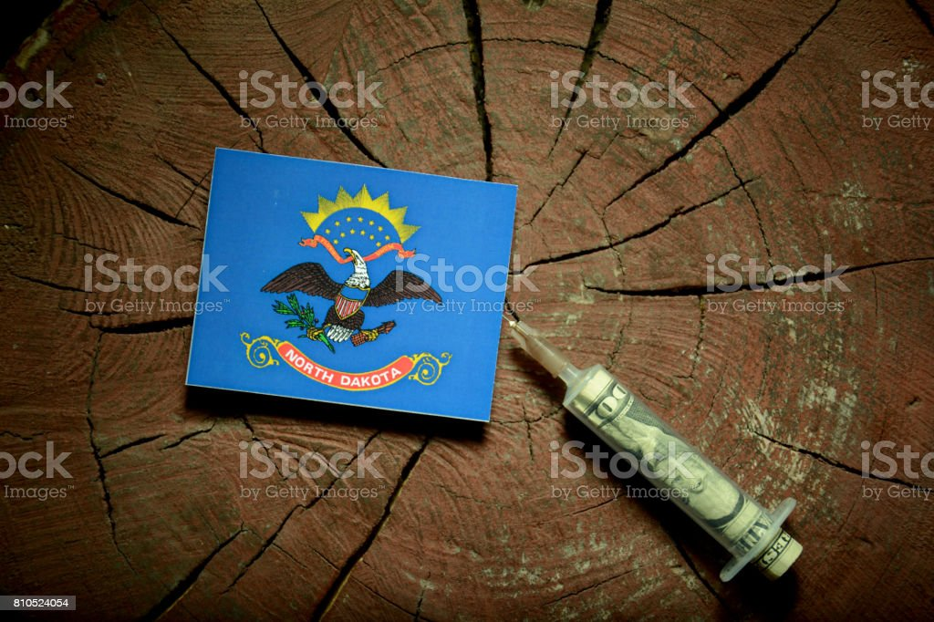 North Dakota flag on a stump with syringe injecting money in flag stock photo