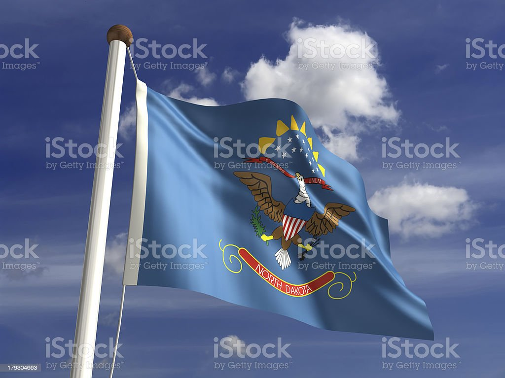 North Dakota flag (with clipping path) royalty-free stock photo