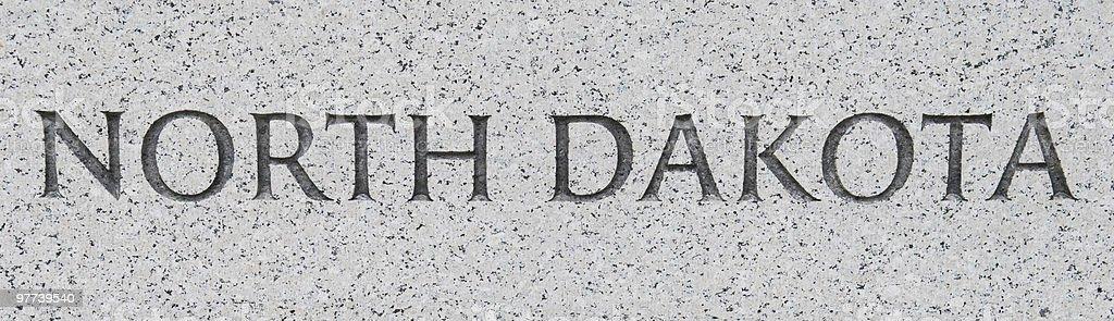 North Dakota inscribed in marble royalty-free stock photo