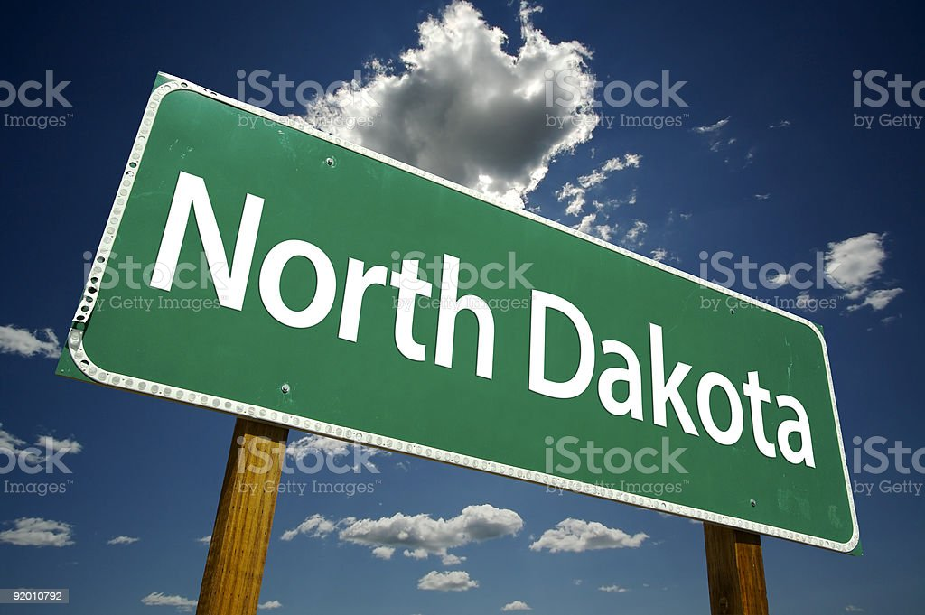 North Dakota Road Sign stock photo