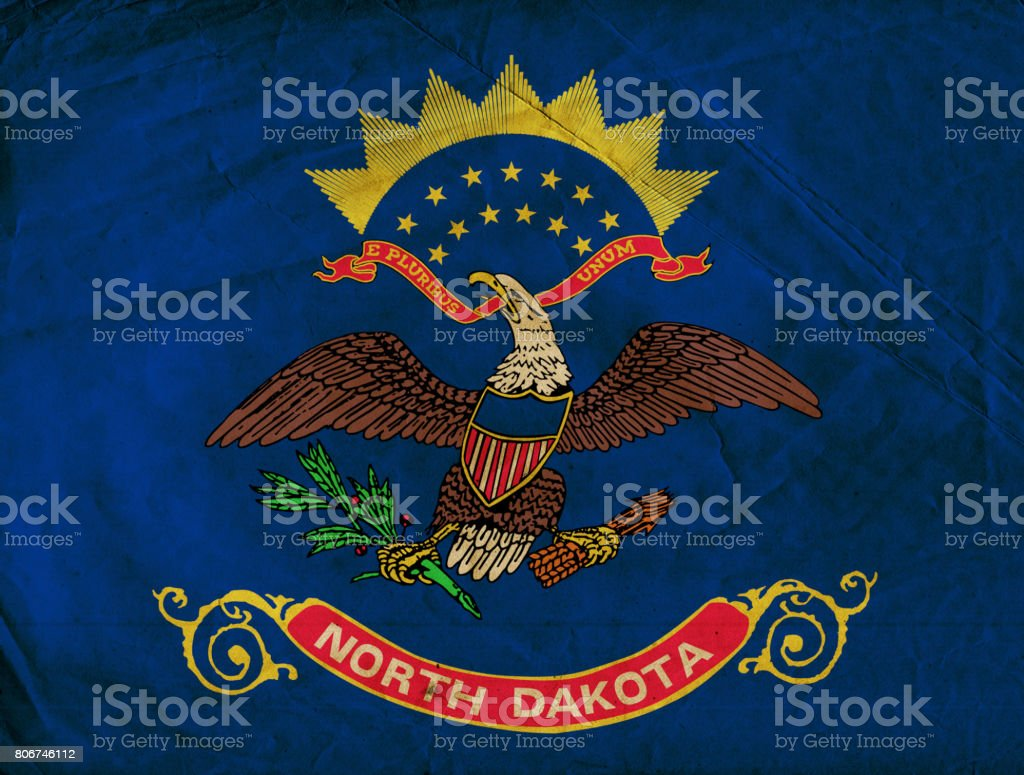 North Dakota State grunge flag stock photo