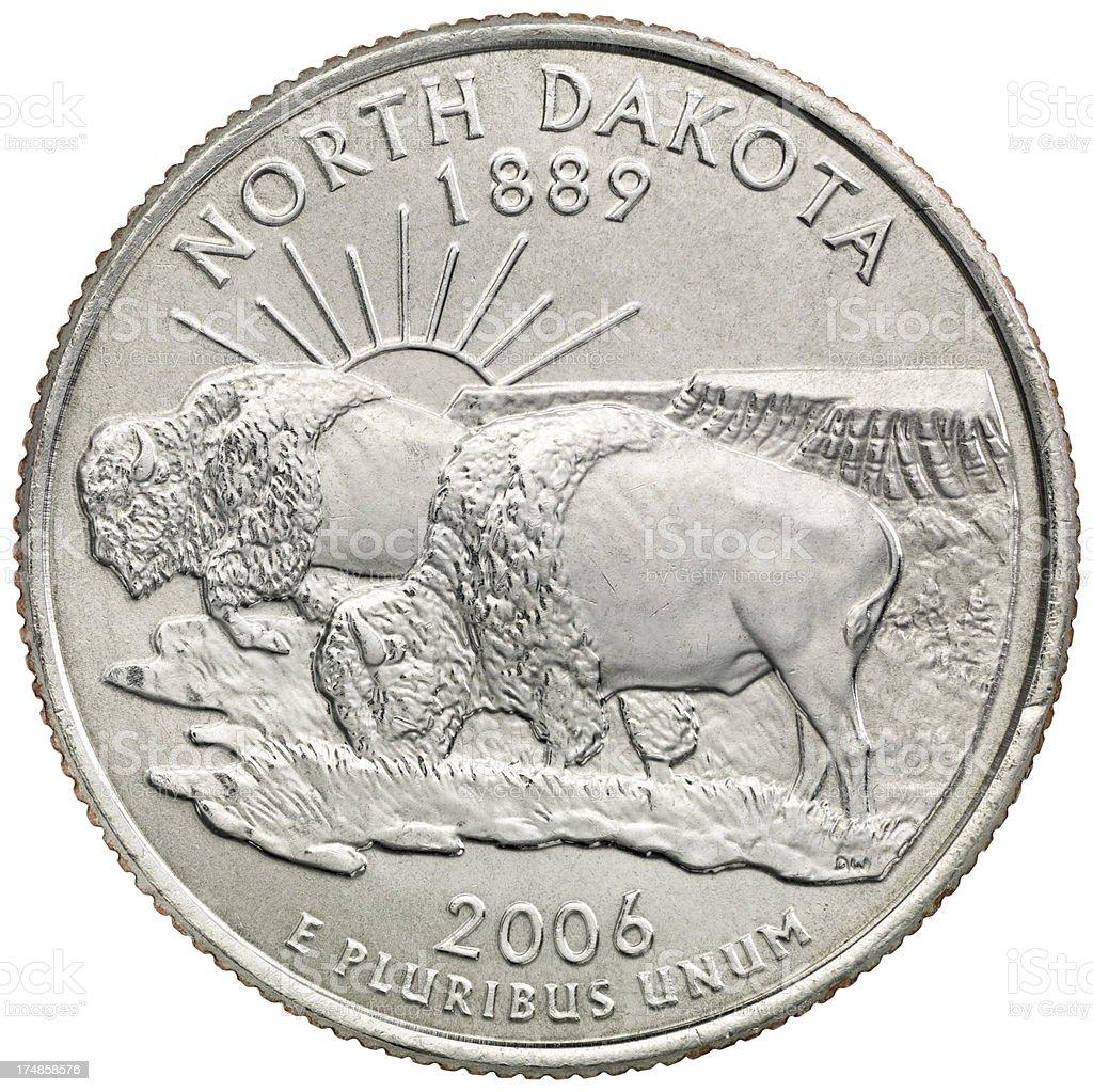 North Dakota State Quarter Coin royalty-free stock photo