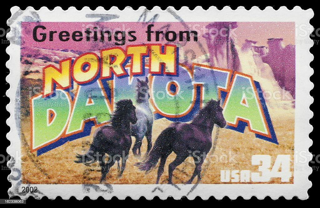 North Dakota State Stamp 'Greetings From America' Retro Postcard Theme royalty-free stock photo