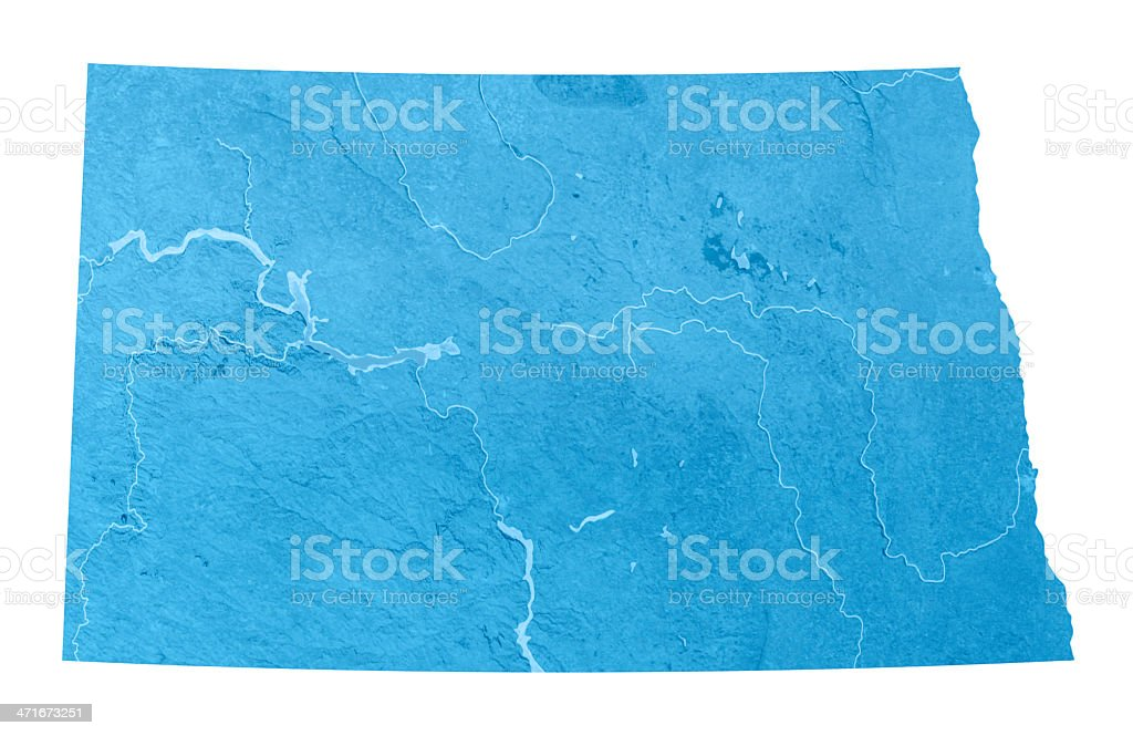 North Dakota Topographic Map Isolated royalty-free stock photo