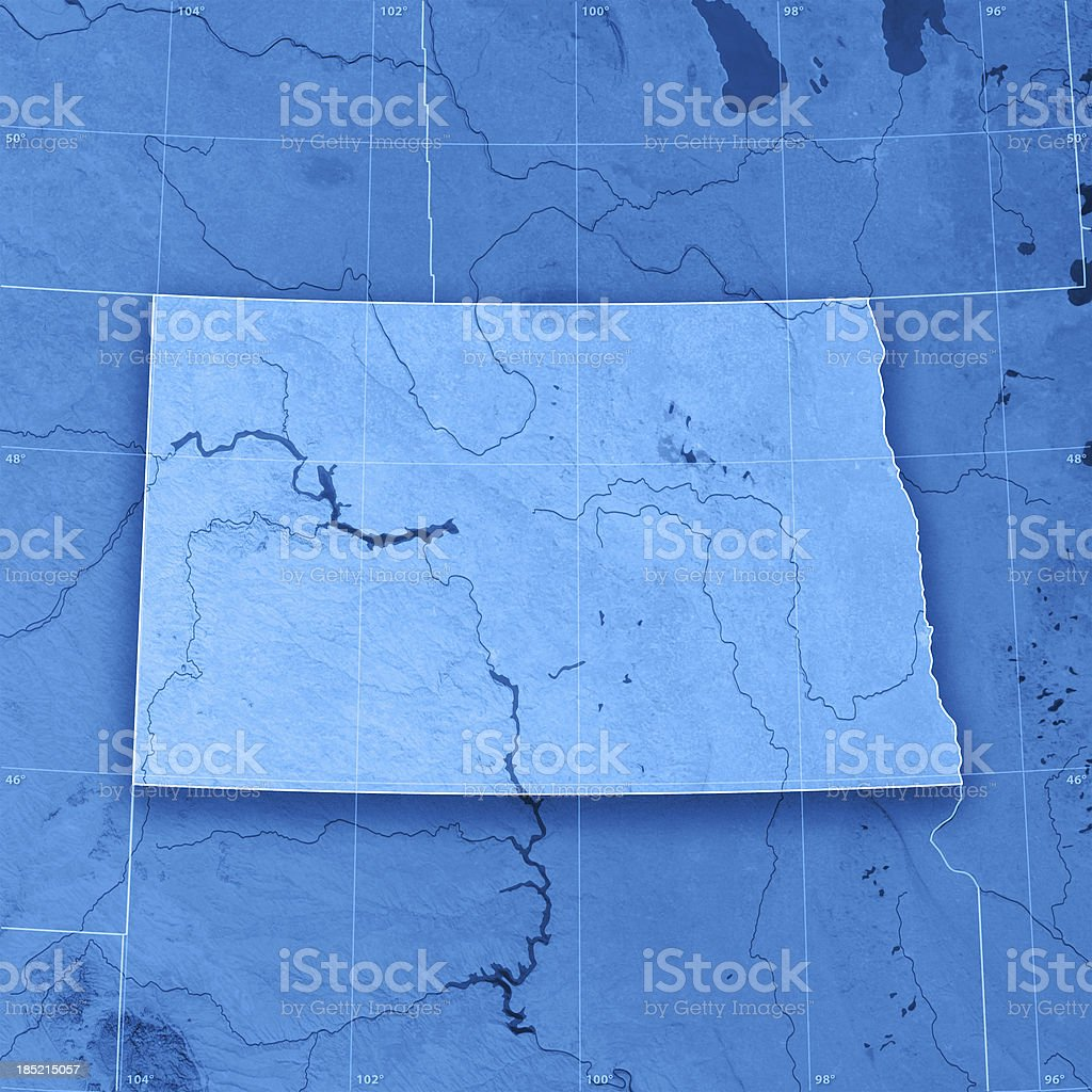 North Dakota Topographic Map stock photo