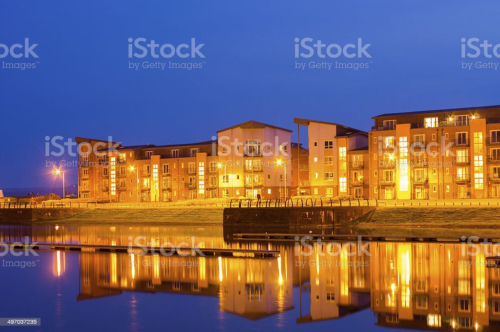 North Dock at Llanelli in Wales, at night stock photo