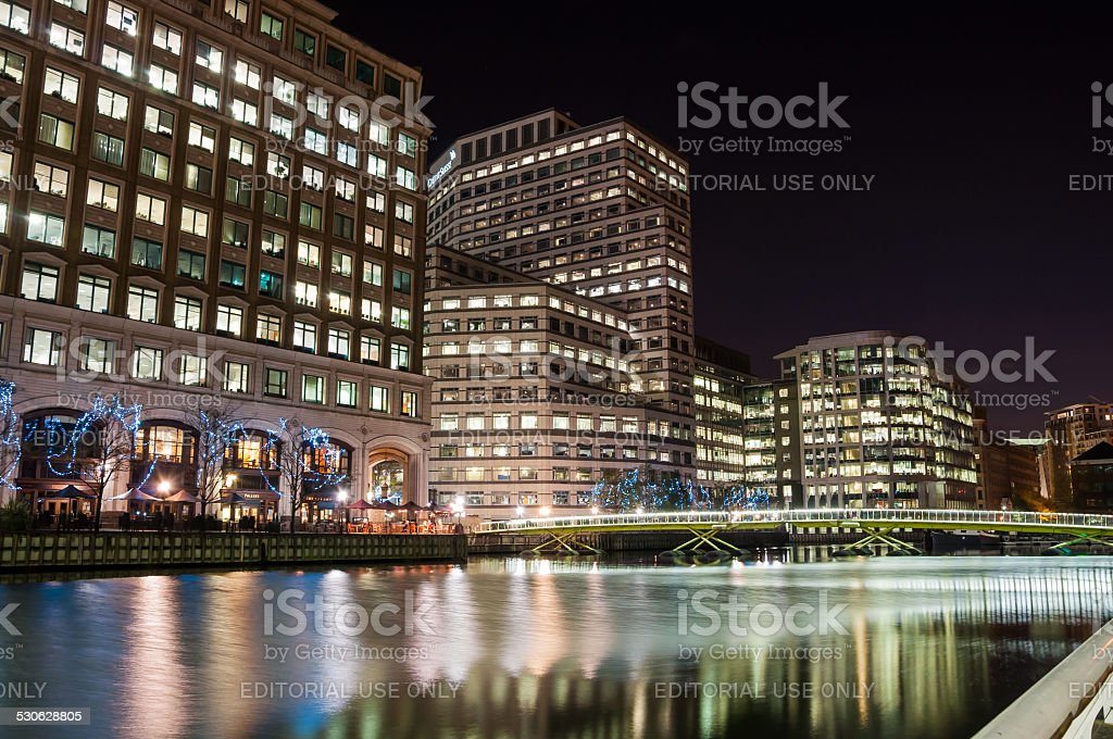 North Dock in Londons docklands at night stock photo