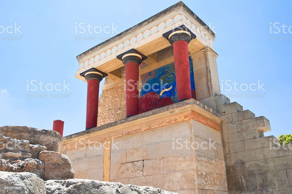 North Entrance with charging bull fresco at Knossos palace. Crete. stock photo