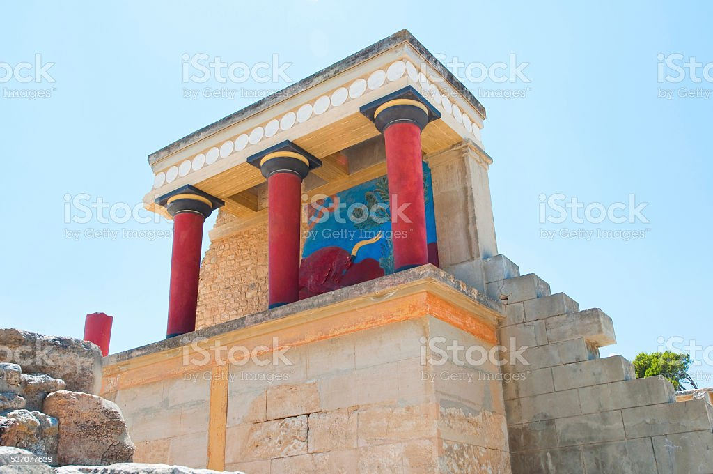 North Entrance with charging bull fresco at the Knossos palace. stock photo