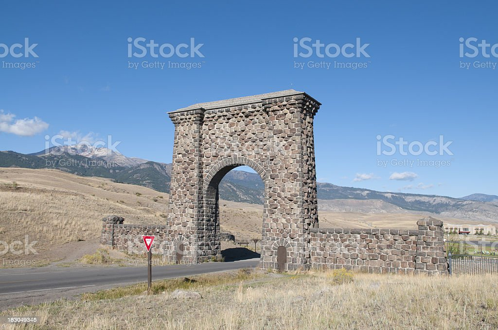 North Entrance Yellowstone National Park stock photo