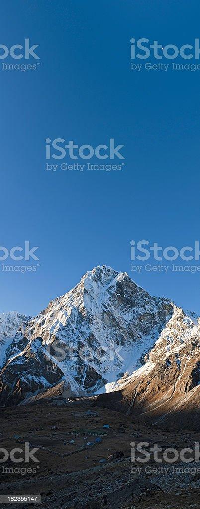 North face Cholatse snow peak moon Himalaya Nepal vertical panorama royalty-free stock photo