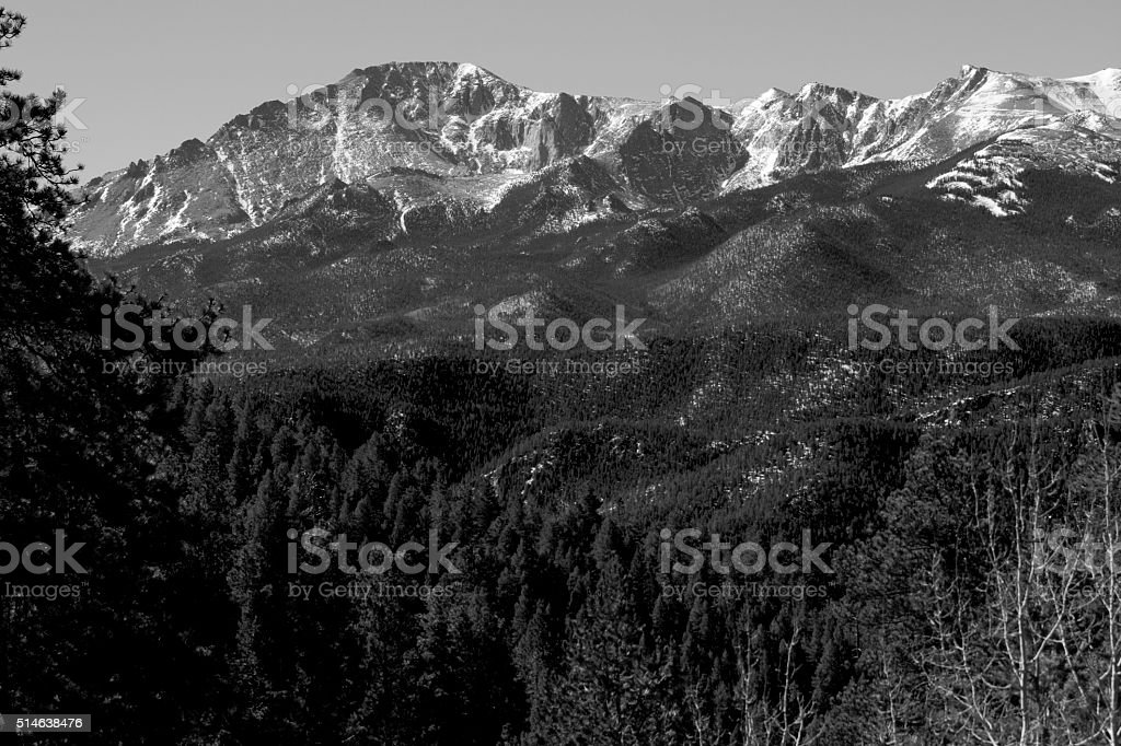 North Face of Pikes Peak in March stock photo
