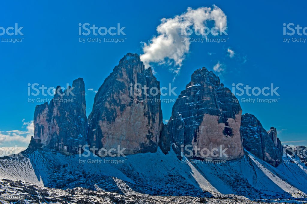 north face of Three Peaks Mountains stock photo