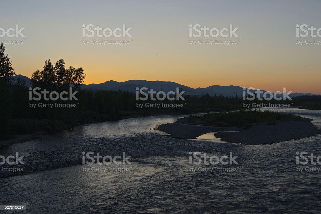 North Flathead River Dusk stock photo