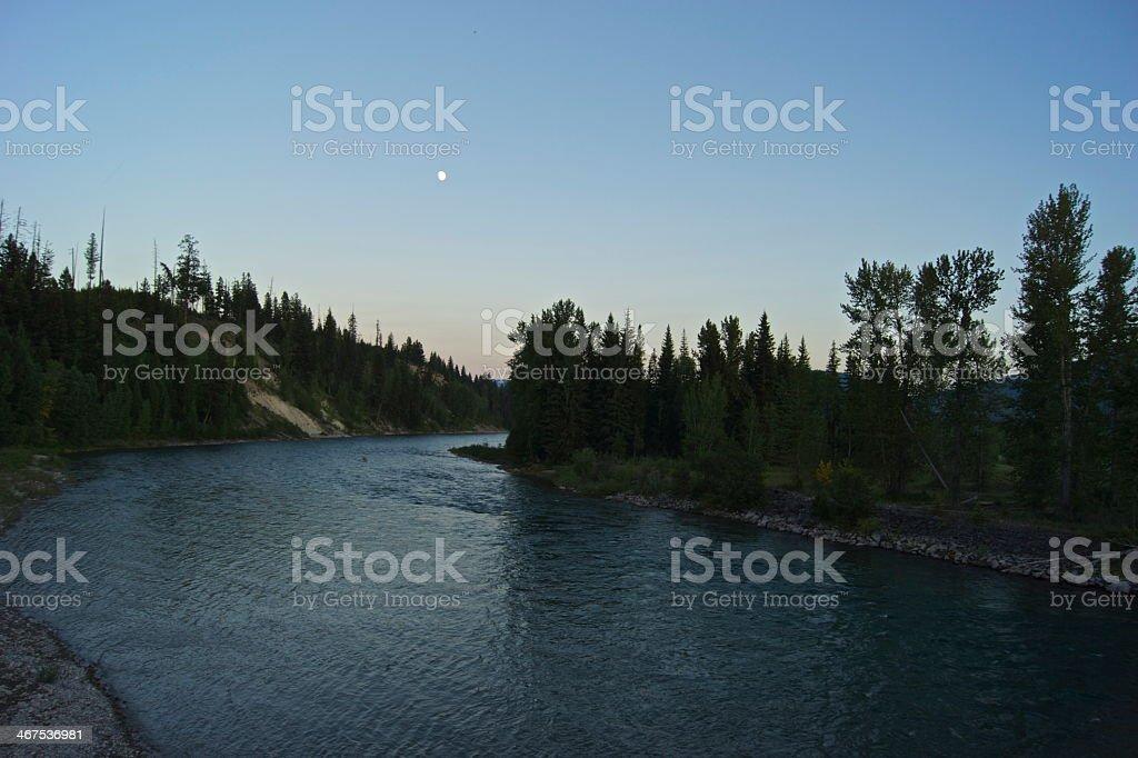 North Flathead River Moon stock photo