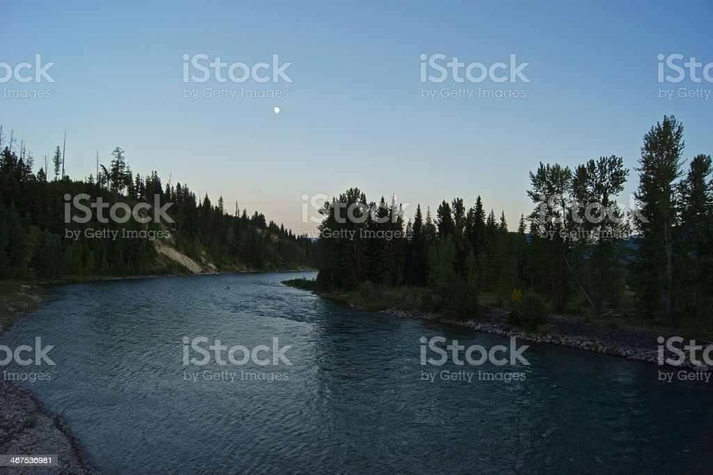 North Flathead River Moon stock photo