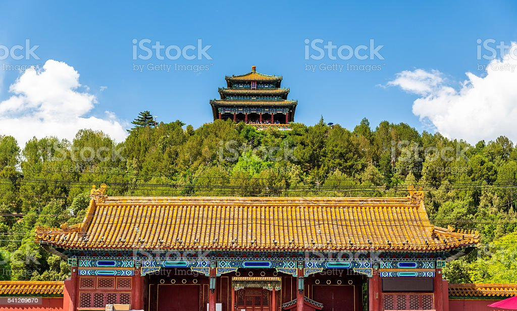 North Gate and Wanchun Pavilion in Jingshan Park - Beijing stock photo