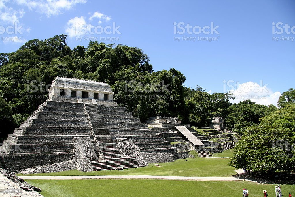 North group temple complex Palenque Mexico stock photo