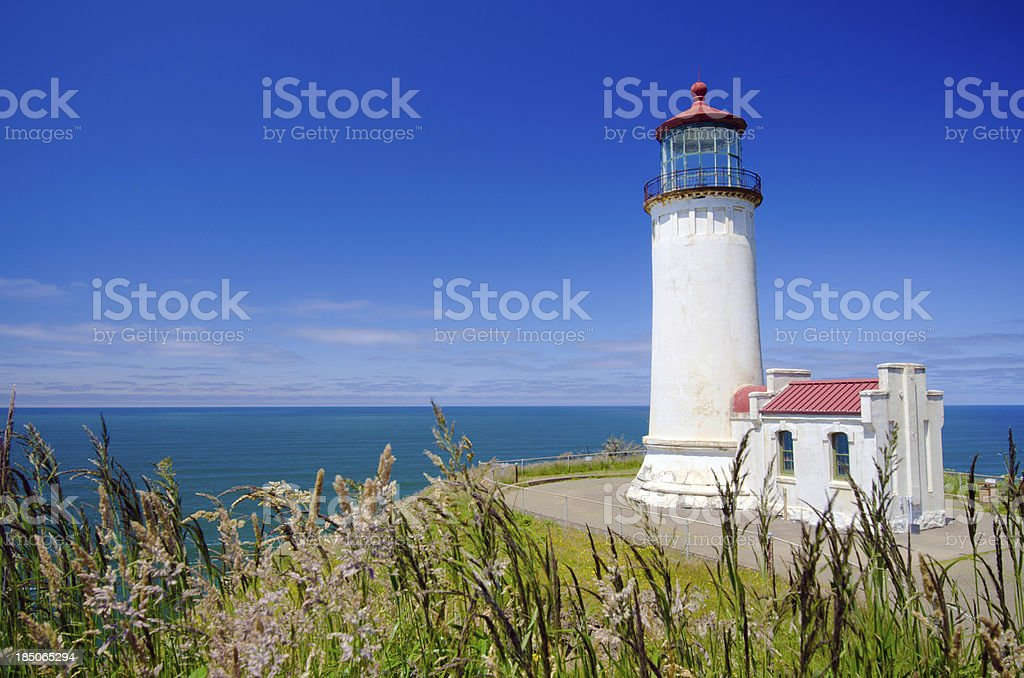North Head Lighthouse at Fort Canby State Park in Washington stock photo