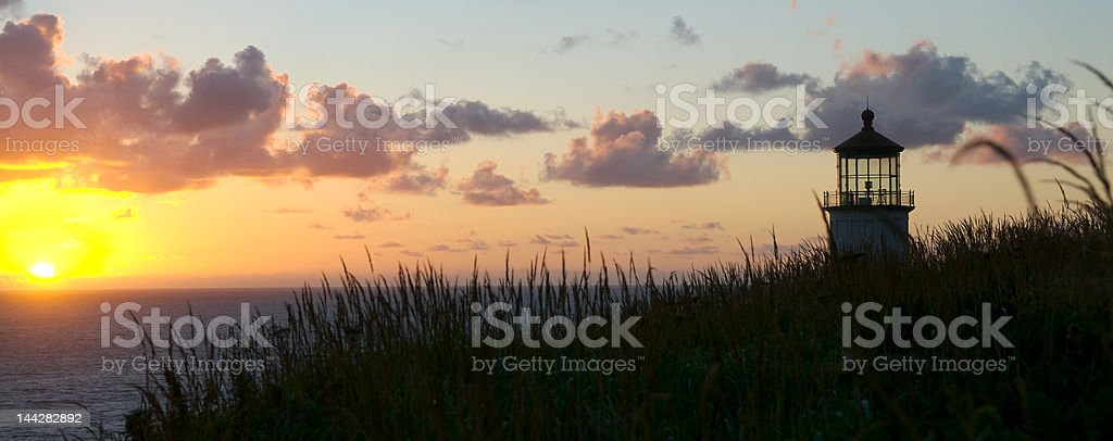 North Head Lighthouse at Sunset stock photo