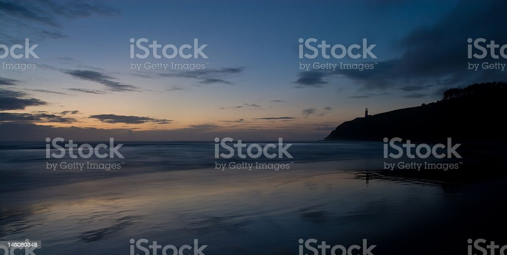 North Head Lighthouse Lit, Cape Disappointment State Park, Sunset stock photo