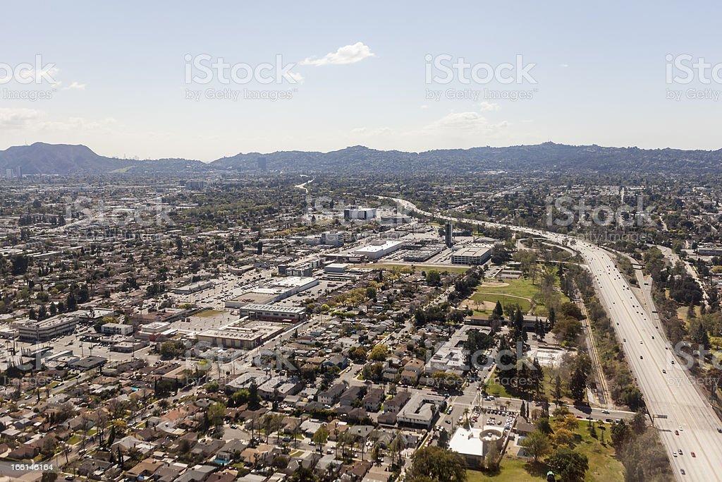 North Hollywood California Freeway Aerial stock photo
