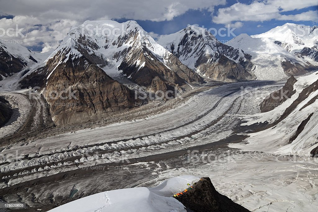 North Inylchek glacier, Tian Shan mountains stock photo