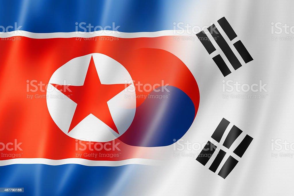North Korea and South Korea flag stock photo