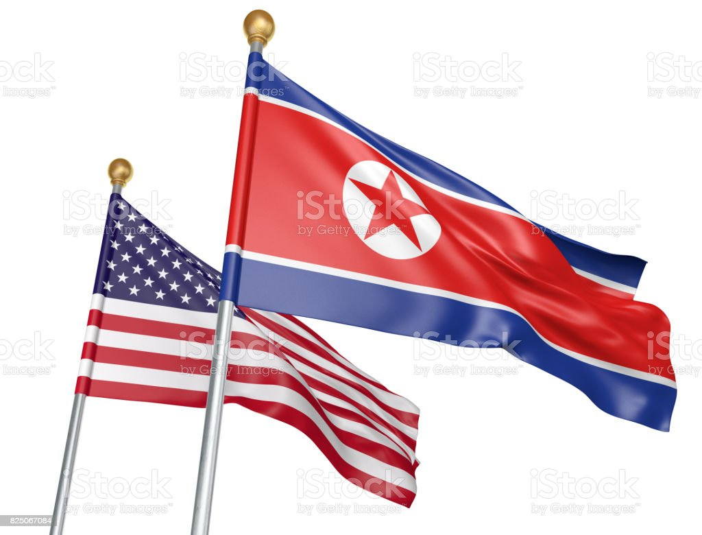 North Korea and United States flags flying together for important diplomatic talks, 3D rendering stock photo