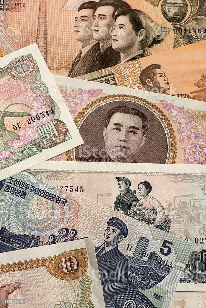 North Korea currency stock photo