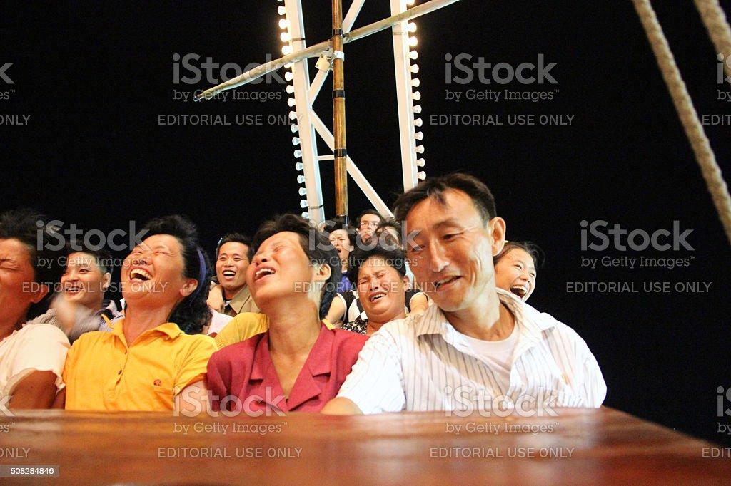 North Korea DPRK: Kaeson Fun Fair at Night stock photo