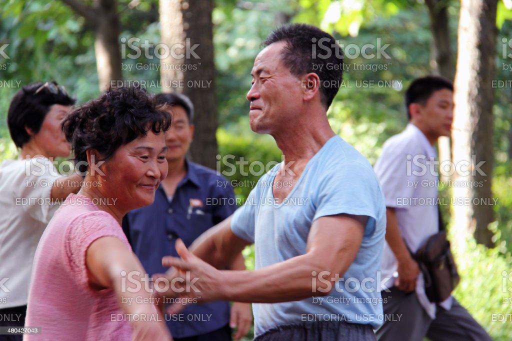 North Korea DPRK: Liberation Day in Moranbong Park stock photo