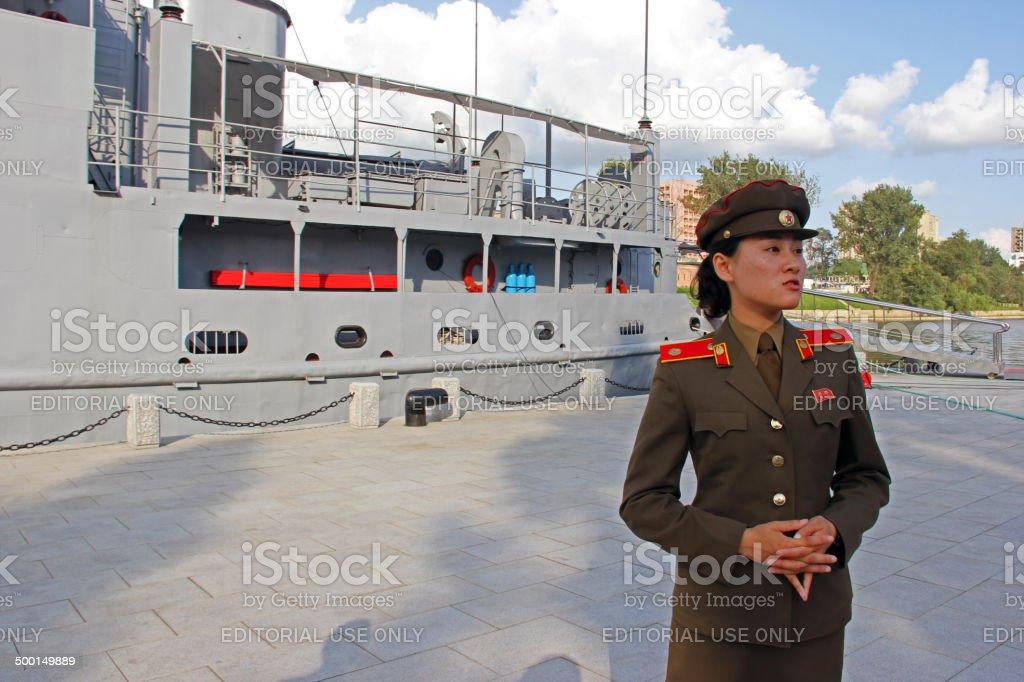 North Korea DPRK: Military Guide in Pyongyang stock photo