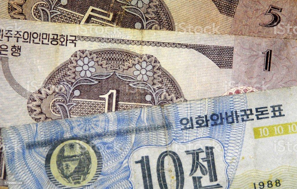 North Korea / DPRK: Won bank notes, North-Korean currency royalty-free stock photo