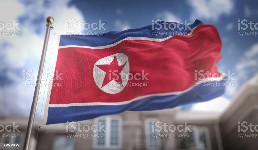 North Korea Flag 3D Rendering on Blue Sky Building Background stock photo
