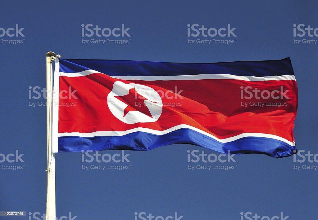North Korea flag on a deep blue sky stock photo