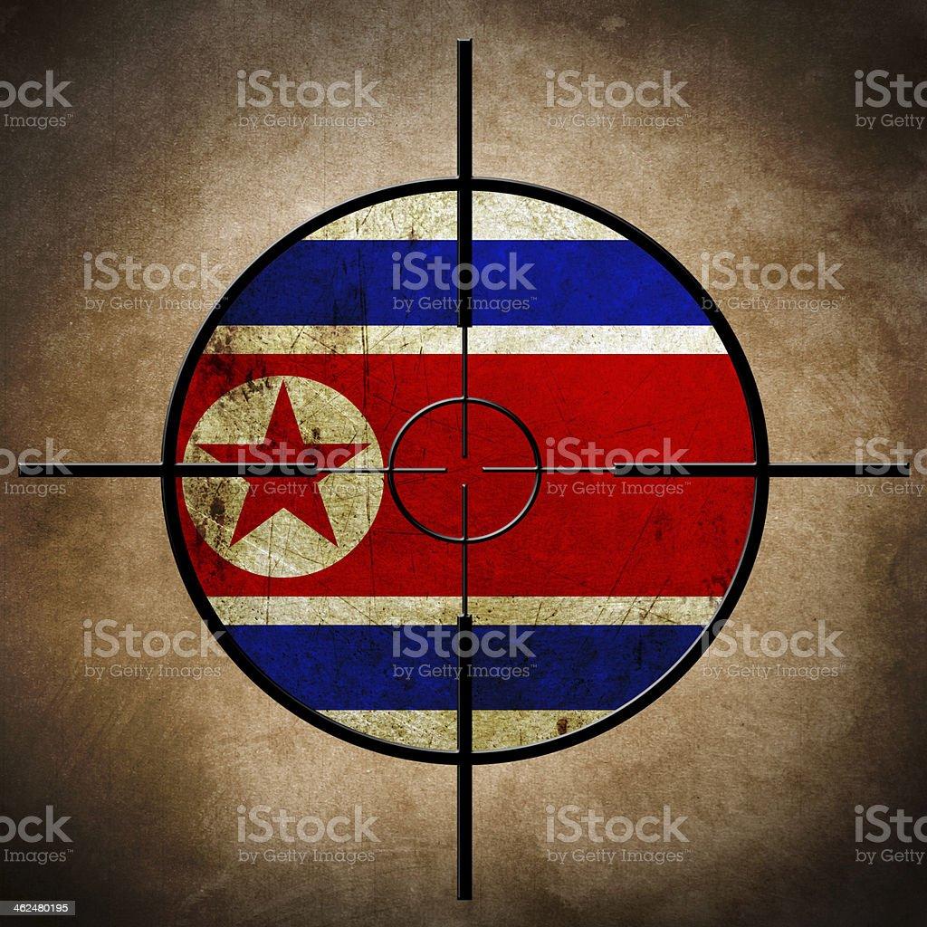 North Korea  flag on cross-hairs stock photo