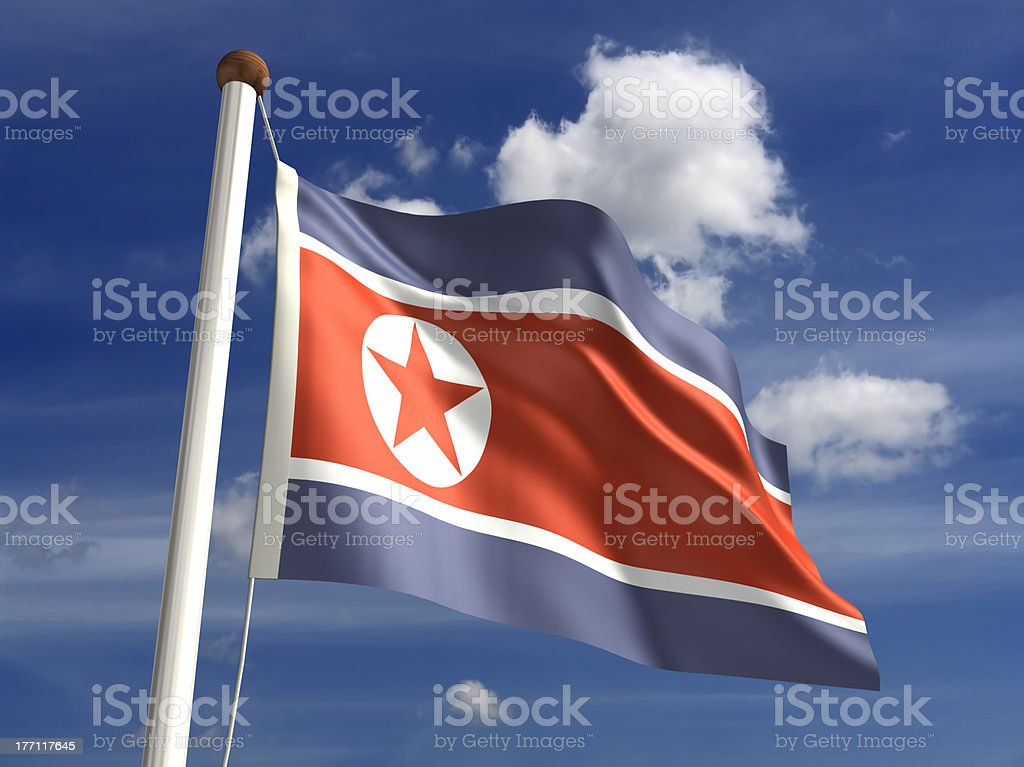 North Korea flag (with clipping path) stock photo
