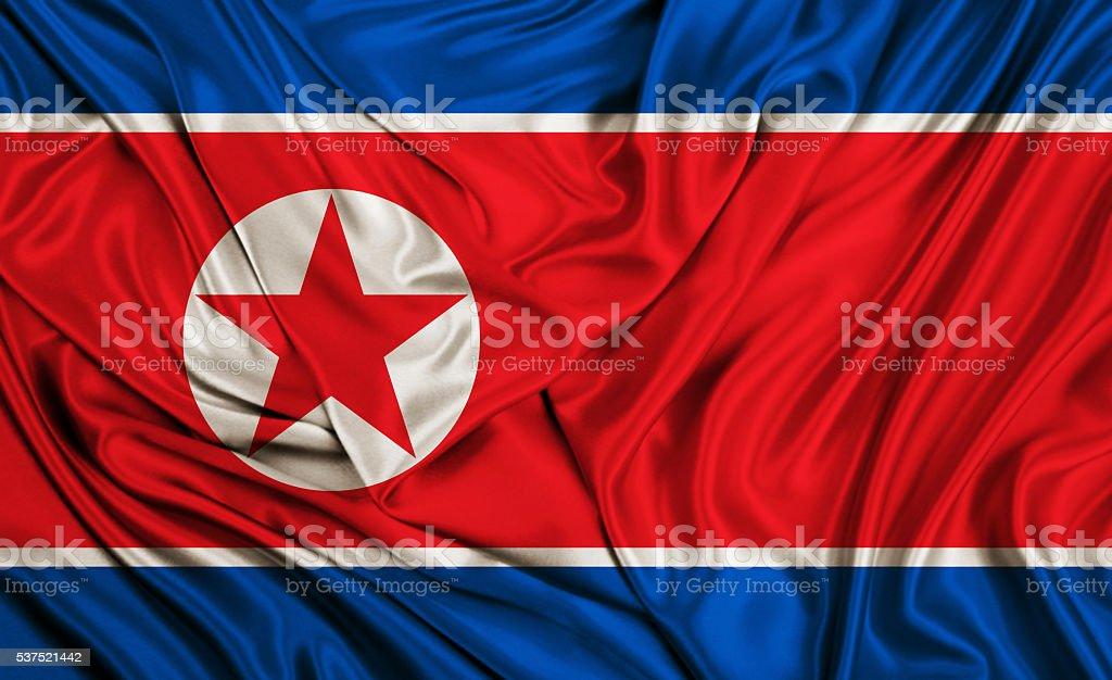 North Korea flag - silk texture stock photo