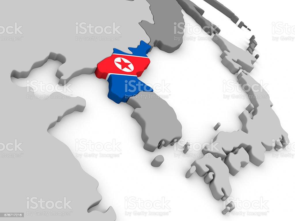 North Korea on globe with flag stock photo