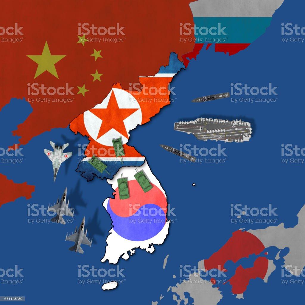North Korea war risk stock photo