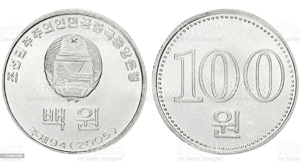 North Korean coin on white background royalty-free stock photo