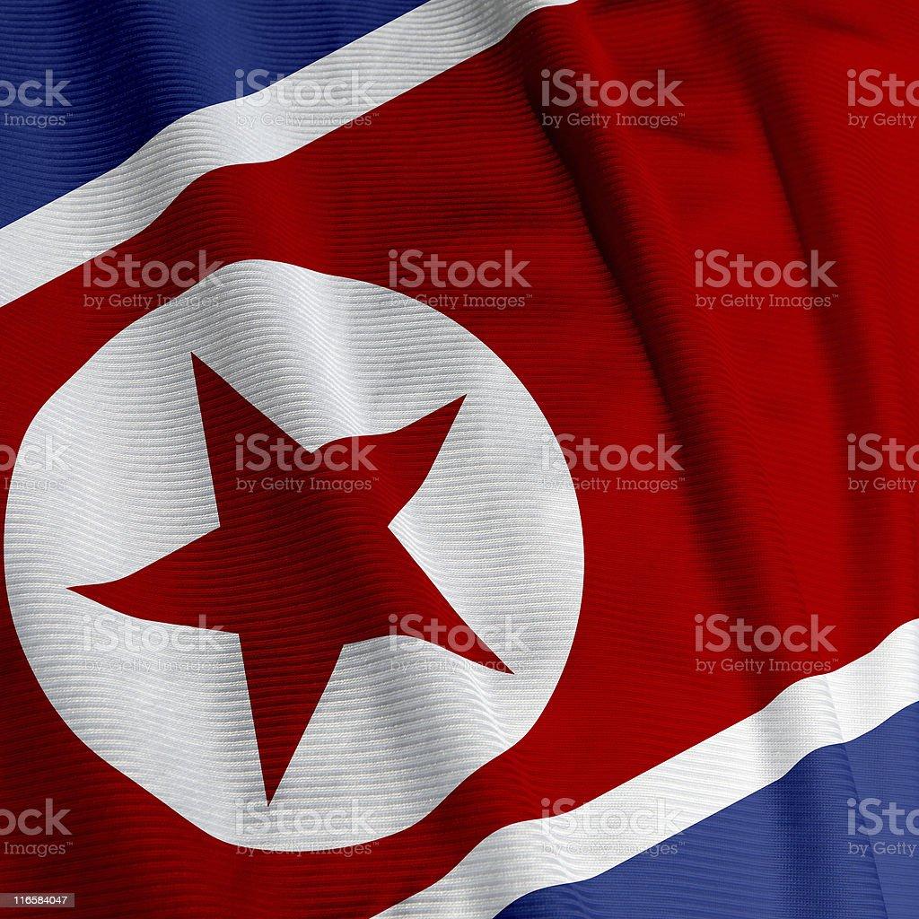 North Korean Flag Closeup stock photo